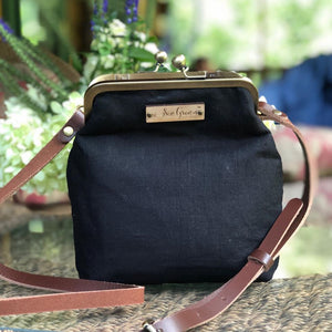 Black Linen Crossbody