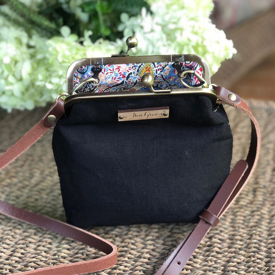 Black Linen Essential Oil Crossbody