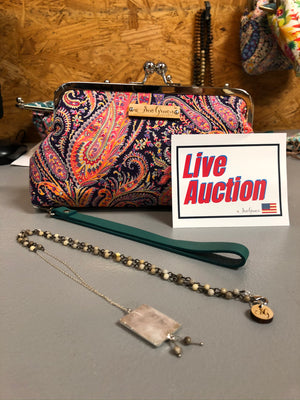 FB Auction - Felix Liberty EO Purse w/Wristlet, Rose Quartz Necklace