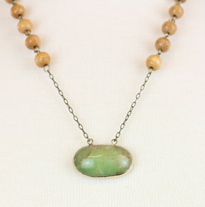 Chrysoprase with Olive Wood