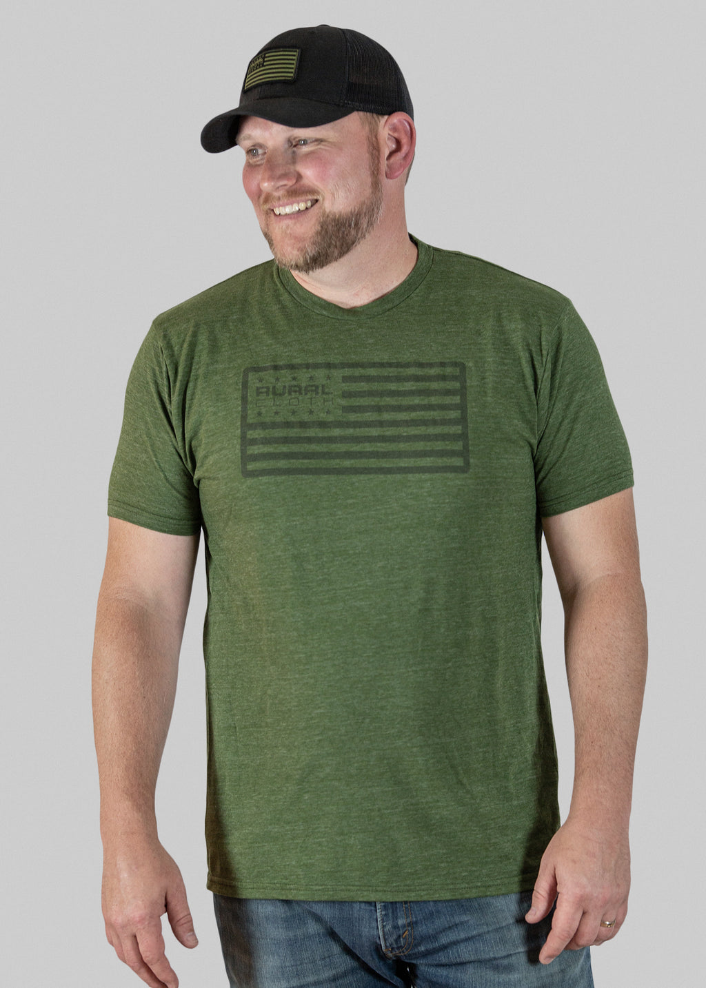 Rural Flag Tee - Heather Olive