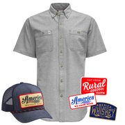 We Grow Beer Hat + Gray Co-Op Button-Up Shirt + Rural Cloth Decal 3-Pack Discounted Bundle