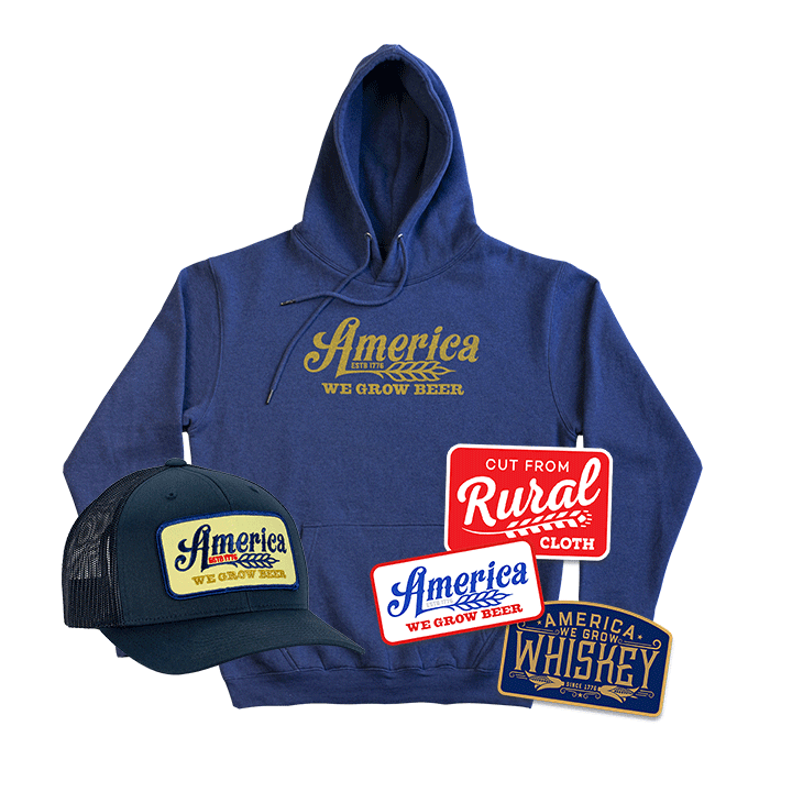 We Grow Beer Pullover + We Grow Beer Banquet Hat + Decal Pack Discounted Bundle
