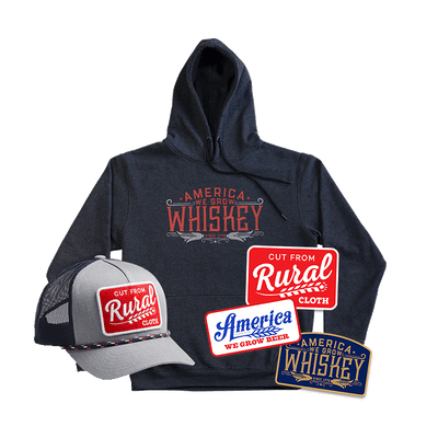 We Grow Whiskey Pullover + Cut From Rural Cloth Hat + Decal Pack Discounted Bundle