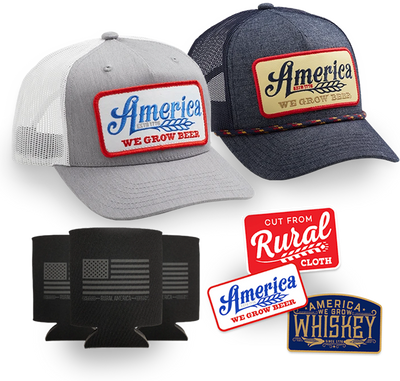 We Grow Beer Hat 2-Pack + Decal 3-Pack + Can Sleeve 3-Pack Discounted Bundle