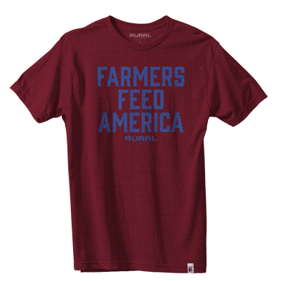 Farmers Feed America Tee - Heather Burgundy