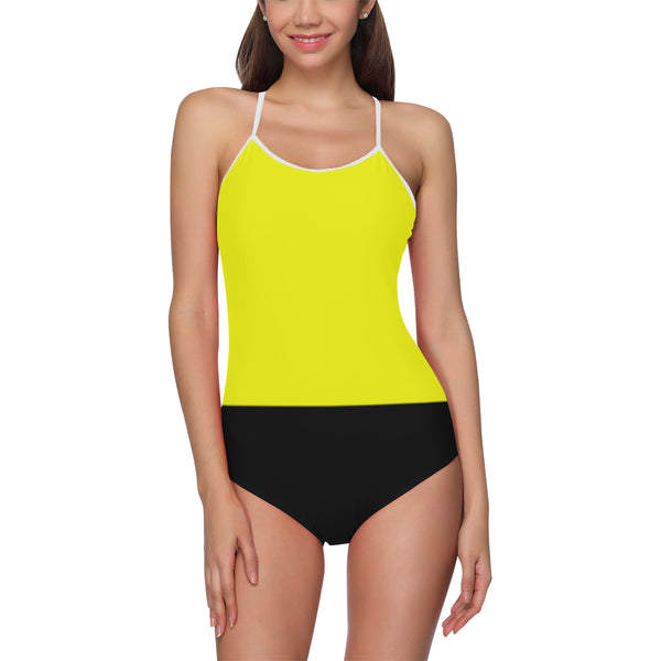 Black and yellow one piece swimsuit