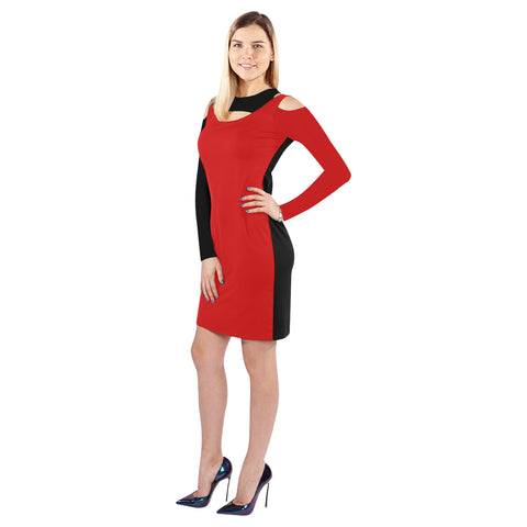 Red and black halter off shoulder long sleeve dress