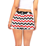 Black and red chevron casual shorts