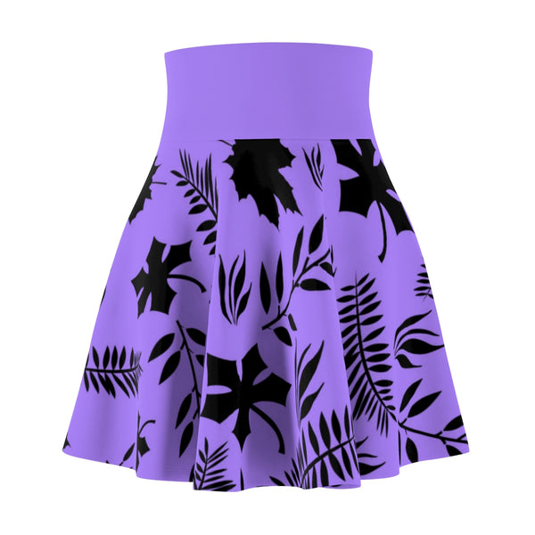 Purple leaves women's skater skirt