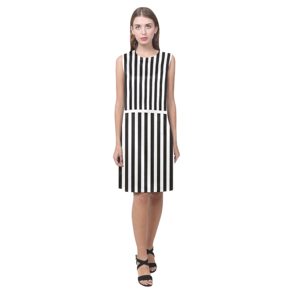 Black and white striped sleeveless dress