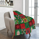 Red and green Christmas fleece blanket 40x50