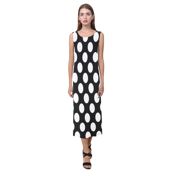 Black and white polka dot long dress with split