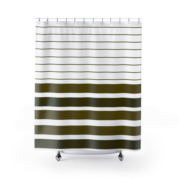 Brown stripe shower curtains 71x74 inches