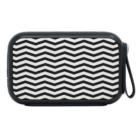 Bluetooth speaker with customized black and white chevron design