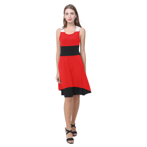 Red, white and black casual sundress