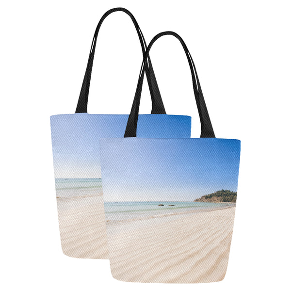 Beach theme canvas tote bag