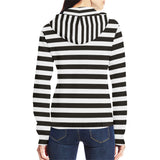 Black and white striped zip up hoodie