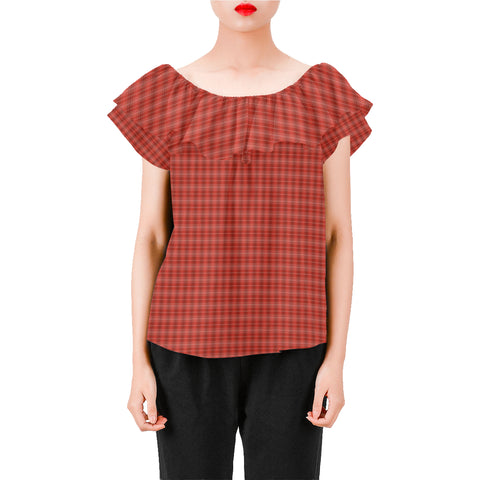 Red plaid a-line chiffon blouse