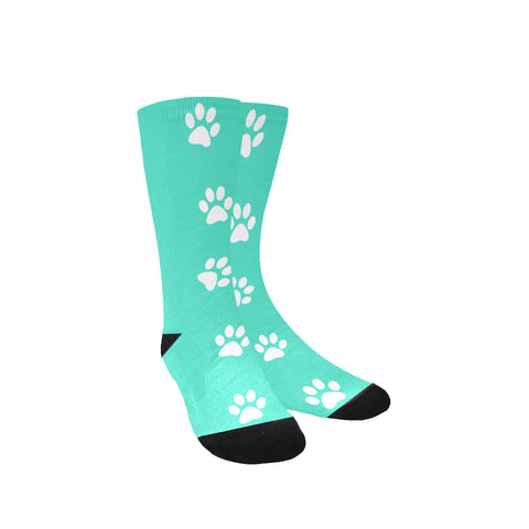 Women dog paw print aqua socks
