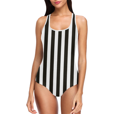 Black and white striped bathing swimsuit