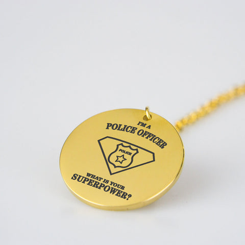 Superpower police officer stainless steel necklace