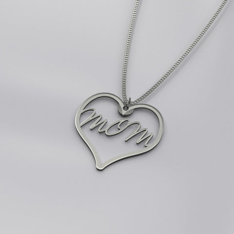 Mom heart love silver necklace, Mother's Day gift