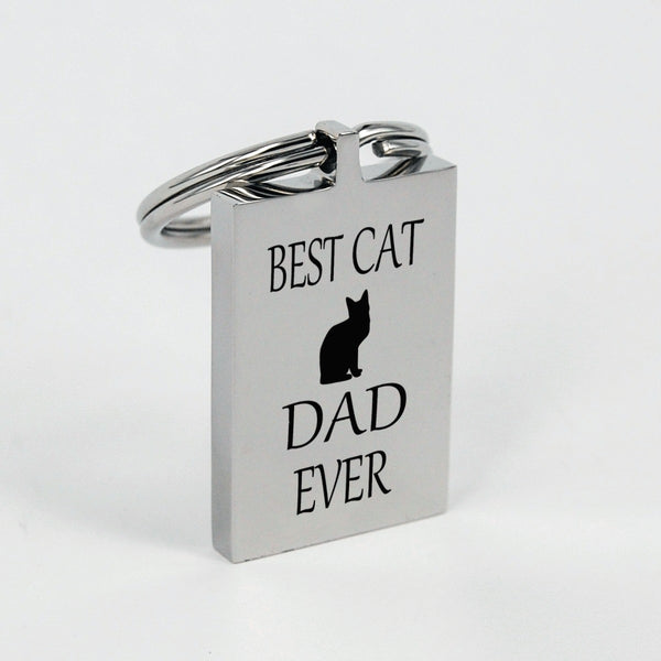 Best cat Dad ever silver keychain