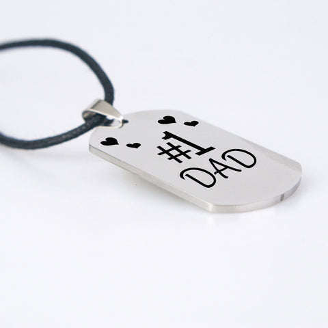 Number one Dad dog tag necklace