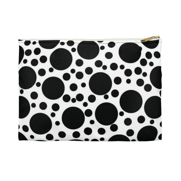 Black and white polka dot makeup and accessory pouch