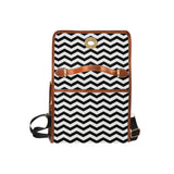 Black and white striped waterproof canvas bag