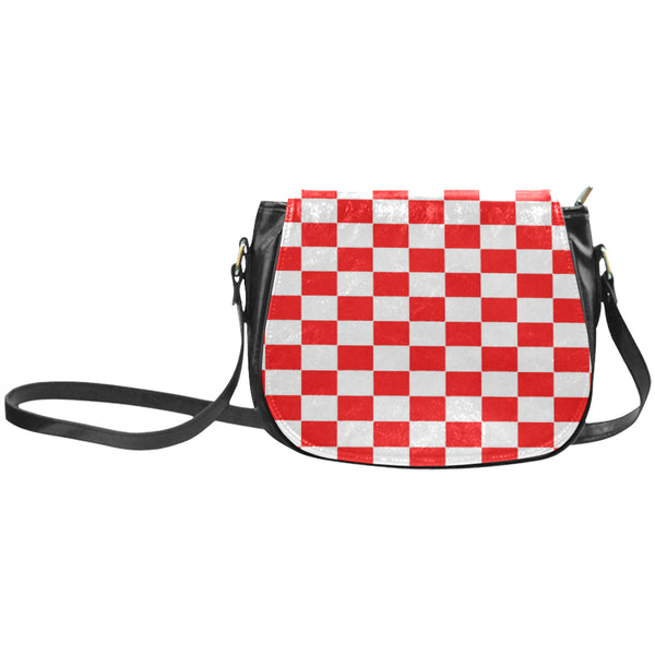 Red and white checkered small saddle bag