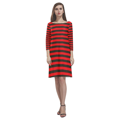 Red and black round neck dress