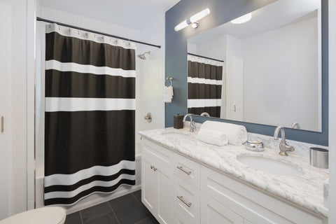 Black Stripe Shower Curtains