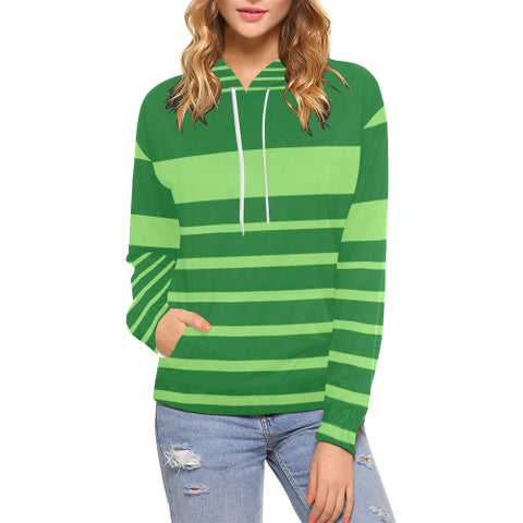 Green striped women's hoodie