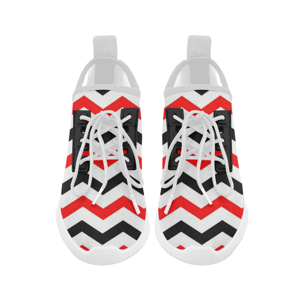 Red and black chevron women's running shoes