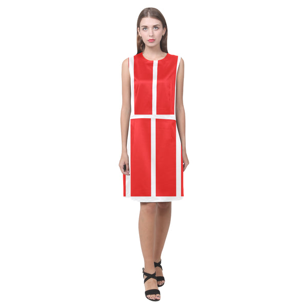 Red and white women sleeveless dress
