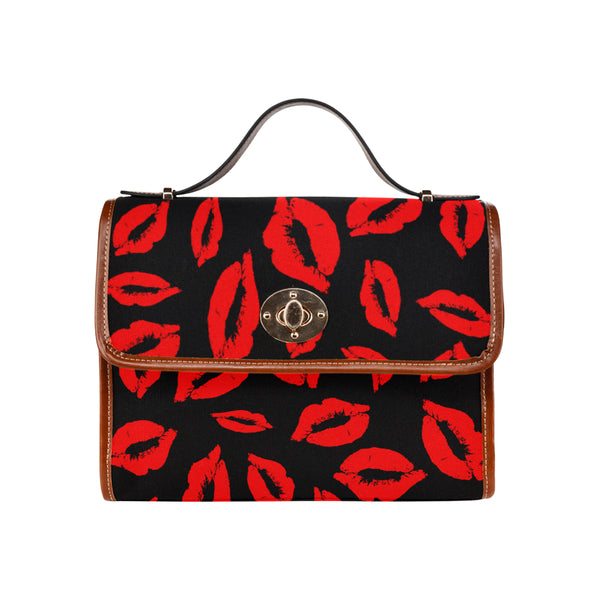 Kisses waterproof canvas crossbody messenger bag