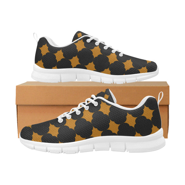 Orange and black breathable sneakers