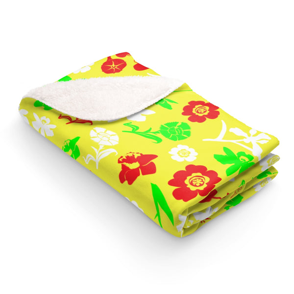 Yellow floral sherpa fleece blanket