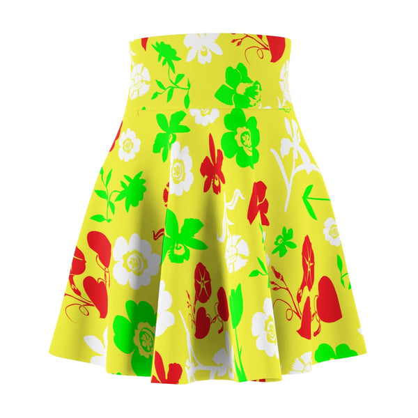Yellow floral women's skater skirt