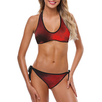 Red 2pc bathing suit with side tie bottom