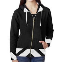 Women black and white hoodie