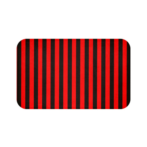 Black and Red Stripe Bath Mat