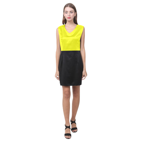 Yellow and black v-neck sleeveless dress