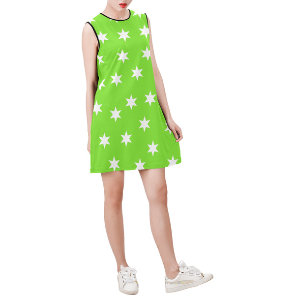 Green sleeveless round neck shift dress
