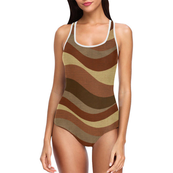 Brown one piece tank top bathing swimsuit
