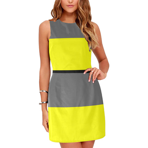 Gray and Yellow Sleeveless Dress