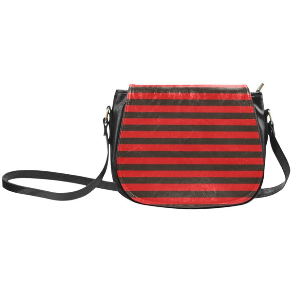 Red and black striped saddle handbag