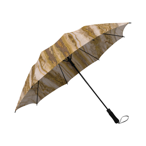 Tan marble semi-automatic foldable umbrella